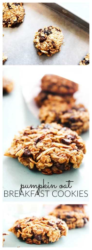 Pumpkin Oat Breakfast Cookies are a fall inspired, grab-and-go healthy cookie. It's like a mini-pumpkin pie, ideal for breakfast or an anytime of day snack. pumpkin-oat-breakfast-cookies-long-pin