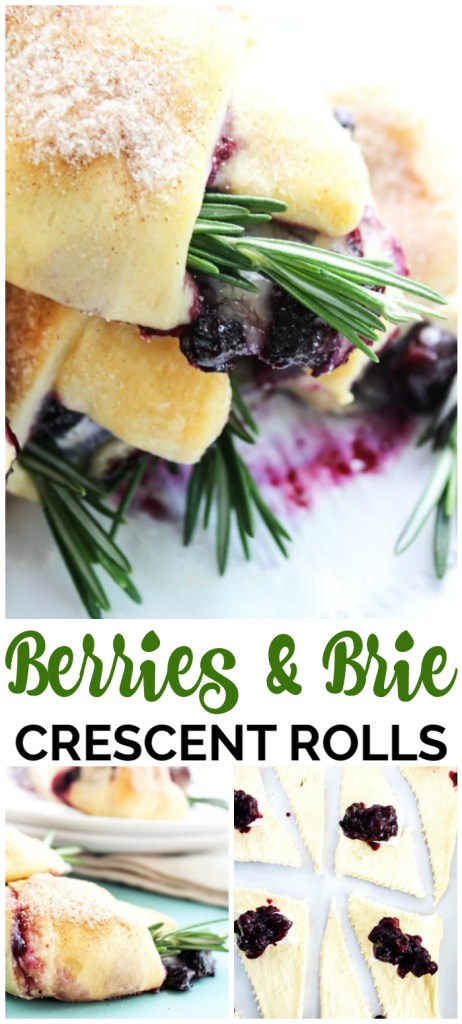 Simple, elegant, and easy to prepare, these Berries & Brie Crescent Rolls are a twist on a classic. Fresh berries & brie rolled up in a bite-sized appetizer.