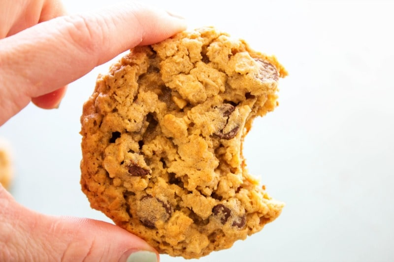 CHEWY OATMEAL PEANUT BUTTER CHOCOLATE CHIP COOKIES -  Bite out of finished cookie