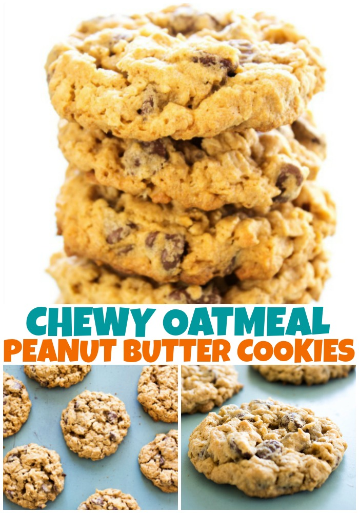 CHEWY OATMEAL PEANUT BUTTER CHOCOLATE CHIP COOKIES - These soft & chewy cookies are the best oatmeal peanut butter cookies you will ever have.