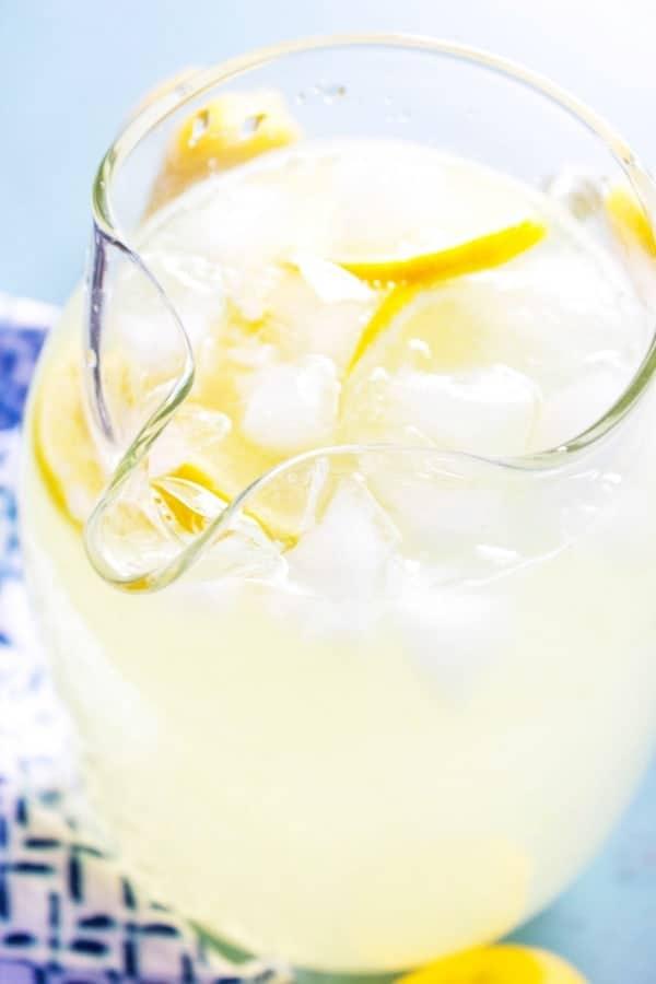BEST EVER LEMONADE – Glass pitched on blue napkin
