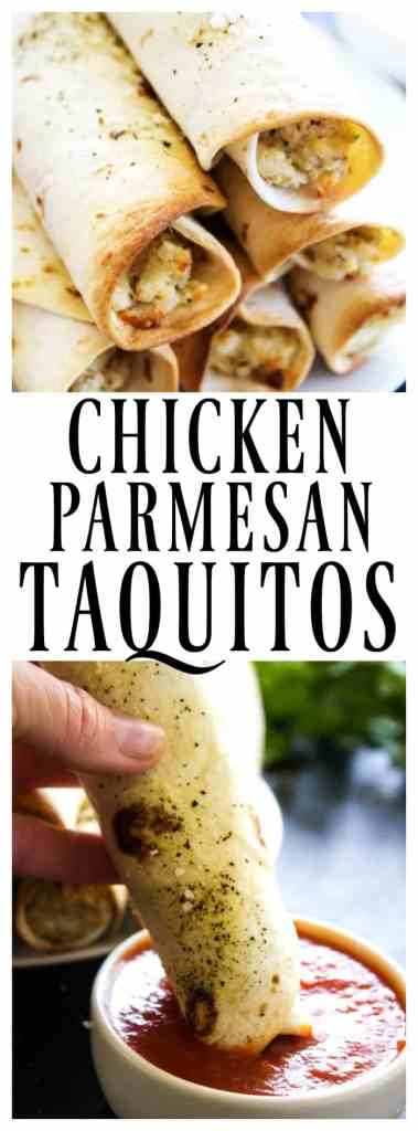 CHICKEN PARMESAN TAQUITOS - Filled with chicken, 3 cheeses and Italian seasoning, dunk these taquitos in a marinara sauce and you have an easier & simpler twist on an Italian classic.