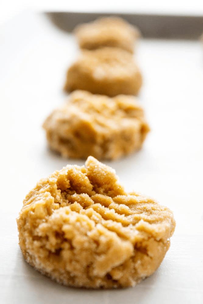 peanut butter banana cookies, cookie dough, baking sheet