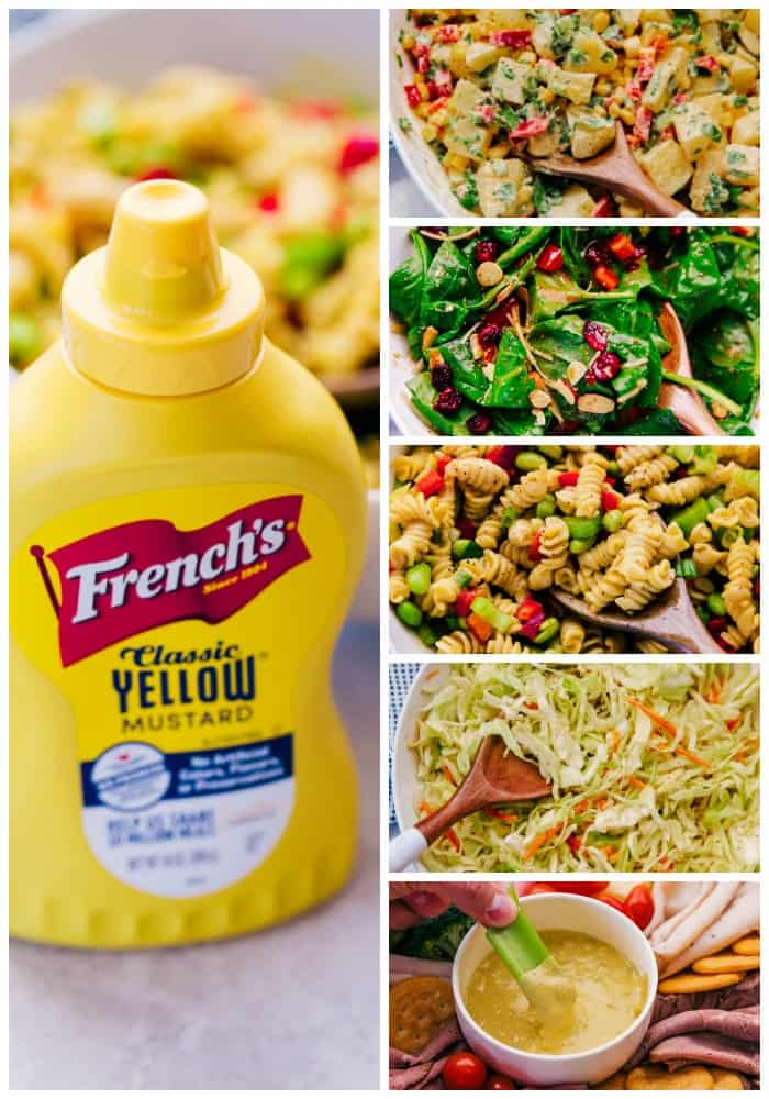 5 Easy Dressing Recipes that are fantastic for summer grilling, barbecues and potlucks. Dress a salad, make a dip or marinade your veggies & meat, no matter the occasion, these recipes are deliciously simple.- Salads in white bowls, wooden serving spoons, marble table