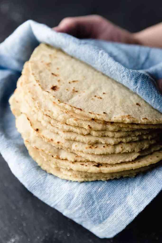 corn tortillas in towel
