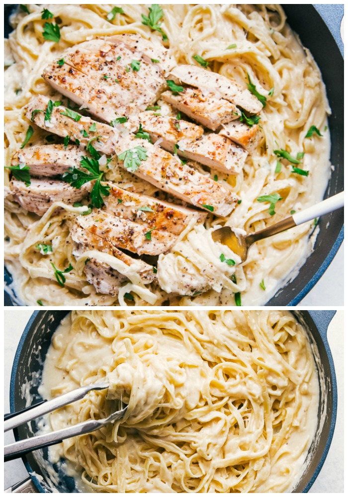 skinny alfredo sauce with grilled chicken and fettuccine noodles
