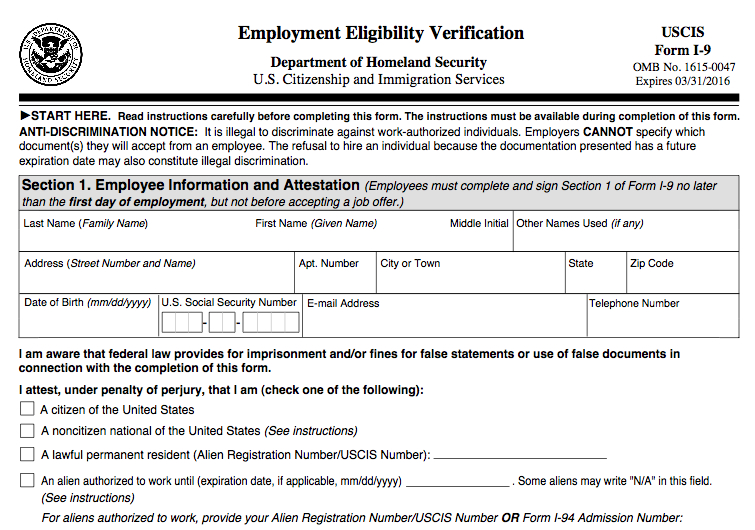 Updated Form I-9 Becomes Mandatory Jan. 22, 2017 | DAS HR ...