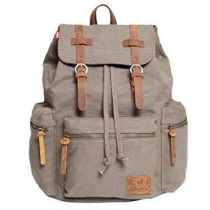 Wowbox Canvas Backpack Vintage Leather Travel Rucksack
