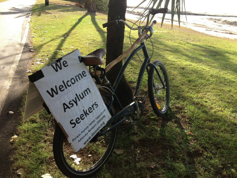 Bike and welcome sign