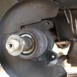 Rover Mini Xn - Bremssattel und Bremsscheibe entfernt