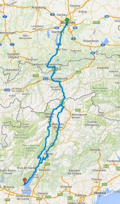 Route München - Gardasee und zurück
