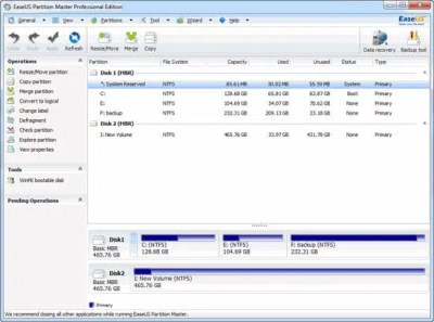 EaseUS Partition Master Pro Screen Shot