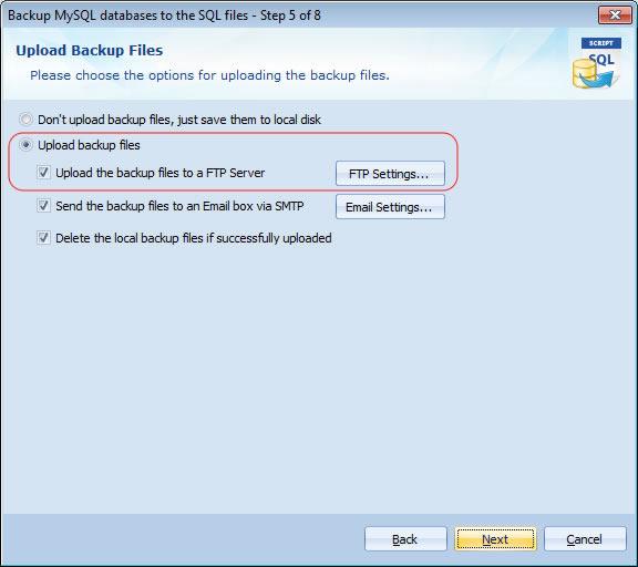 Automatically back up MySQL database to ftp server