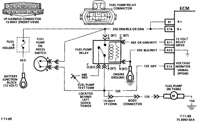 Diagrama Bomba y relevador de combustible Chevrolet