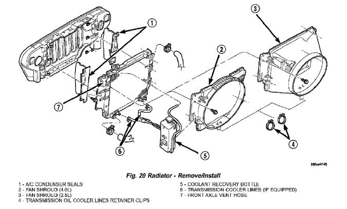Jeep Truck Wrangler L6-4.0 Radiador Servicio y reparación