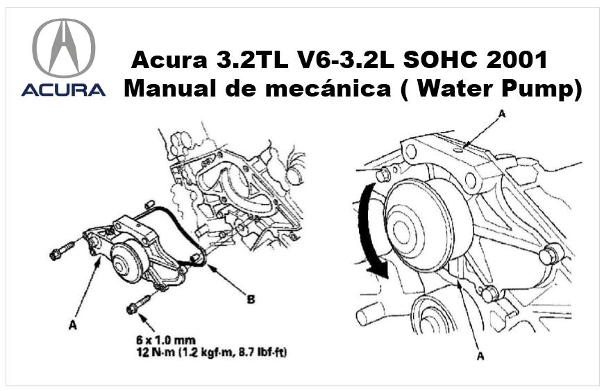 Acura 3.2TL V6-3.2L SOHC 2001 Remplazo de la bomba de agua