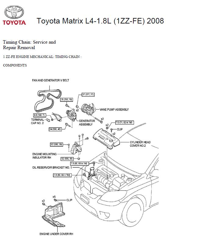 Toyota Matrix L4-1.8L (1ZZ-FE) 2008 Manual de mecánica-DataCar