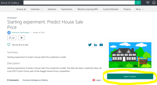 House Sale Price Prediction Model With Azure Machine