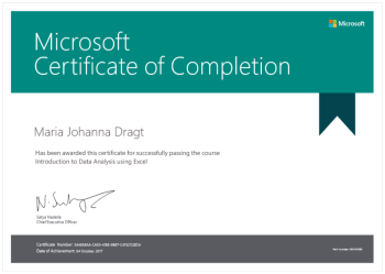 Microsoft Certificate of completion Microsoft Professional Program