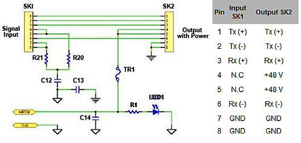 poe ethernet wiring diagram 6 pin trailer 48v-poei - 48 volts power over copper injector 10/100 injectors icomtech