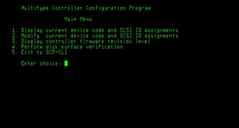 Data General SCSI-II HBA Main Menu