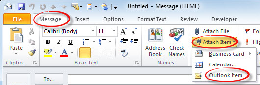 Attach Outlook Items