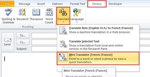 Activate Outlook Bilingual Dictionary