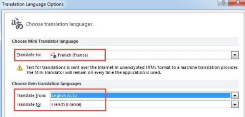 how to change language in outlook online