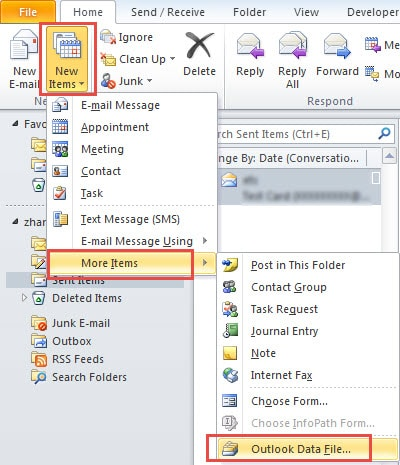 Create New Outlook File