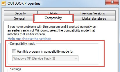 Ensure that Outlook Is Not Running in Compatibility Mode