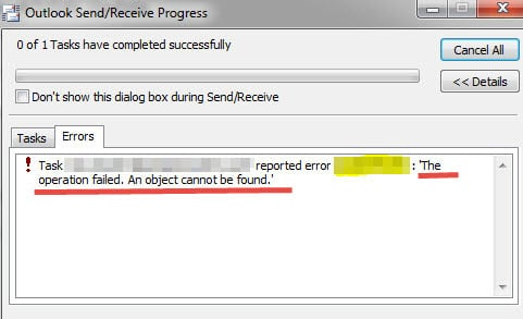Outlook Error - An Object could not be found