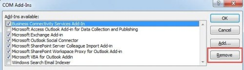 Remove Outlook Add Ins