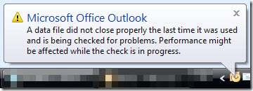 Error Message: The data file was not closed properly