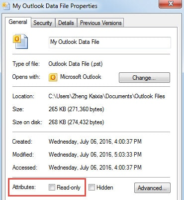 Verify If the Outlook File Is in Read Only Status