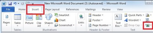 """Click """"Insert Object"""" icon"""