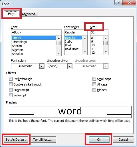 how do i set default font in word