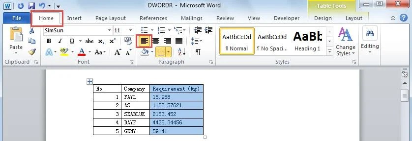 How to Line Up Numbers with Decimal Points in Your Word Tables
