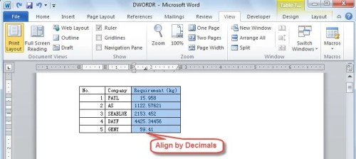 How to Line Up Numbers with Decimal Points in Your Word