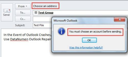 How to Force Outlook to Always Ask for Account before