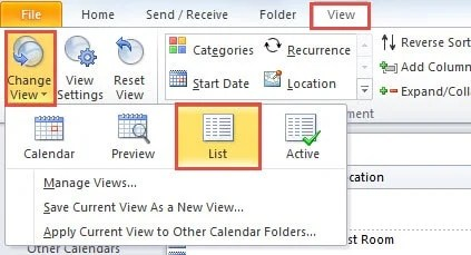 Show the Calendar in List View