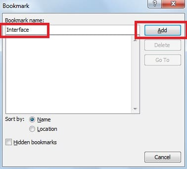 """Enter the name in the """"Bookmark name"""" box"""