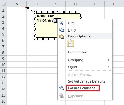 how to fix font for comments in excel