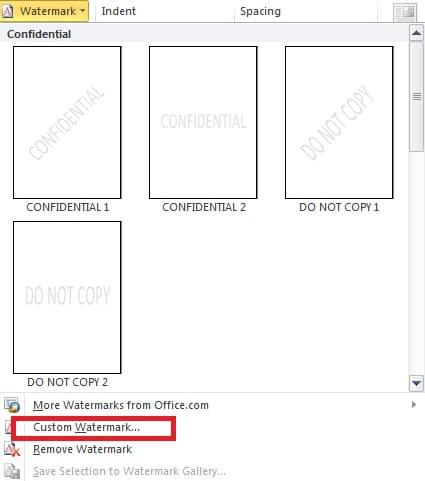 "Click on ""Custom Watermark"""