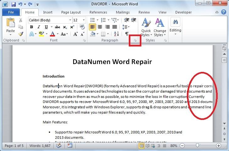 "Click the ""Paragraph"" Dialog Box Launcher"