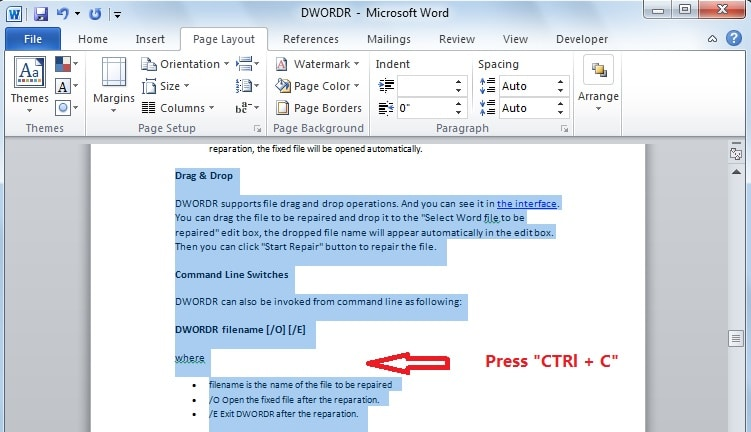 "Press ""Ctrl + C"" to copy the content"
