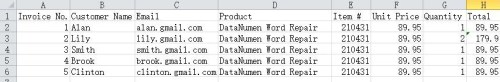 Excel sheet containing information for customers