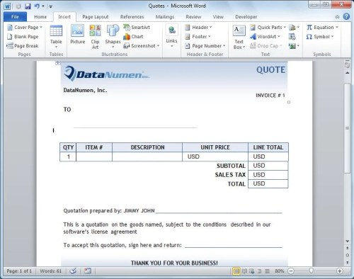 Create the quote in Word for each customer