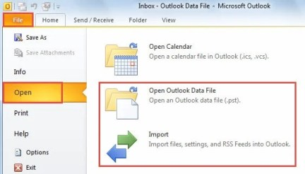 Open Outlook Data File & Import