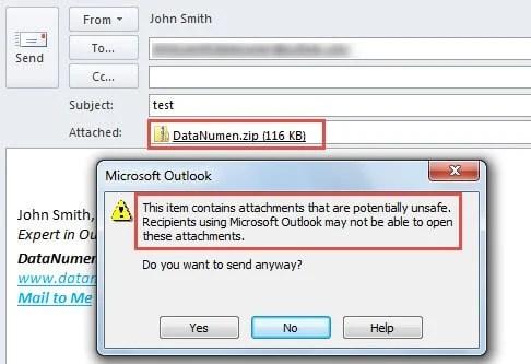 Block Outlook Attachments When Sending