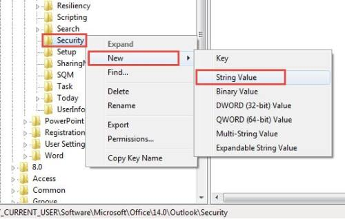 Create a new string value under Security